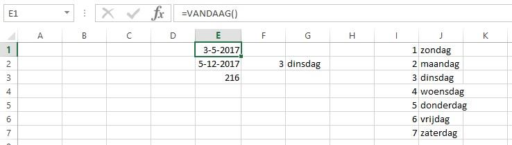 Datums in Excel - Voorbeeld 1