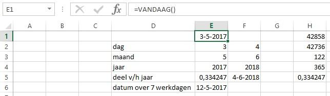 Datums in Excel - Voorbeeld 2