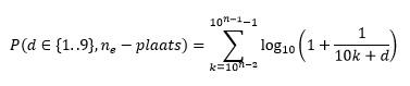 wet van Benford - Formule voor andere posities